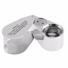 BIJIA 40x Illuminated Jeweler LED UV Lens Loupe Magnifier with Mental Construction and Optical Glass, with Bijia Special Package