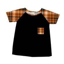 Hot sale kids <strong>boy's</strong> orange grid fabric <strong>t-shirts</strong> wholesale <strong>boy's</strong> clothes
