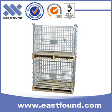 Stackable metal wire mesh cage pallet for storage racking system