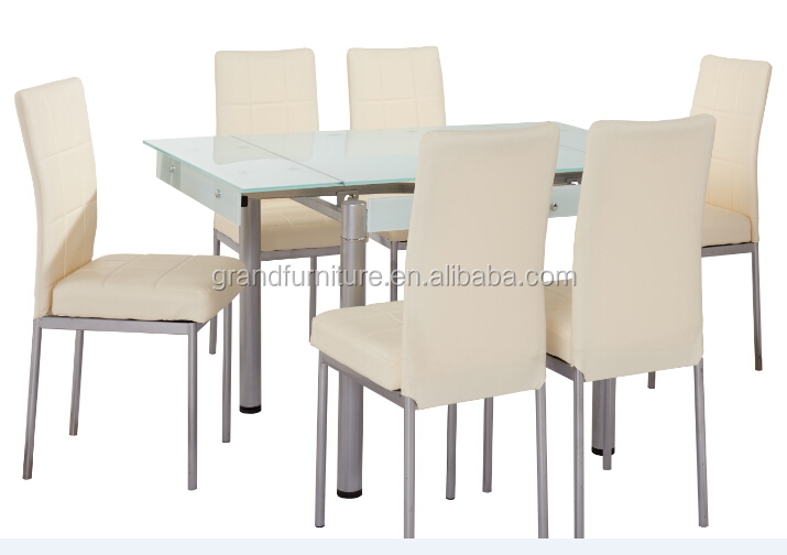 1+6 popular and modern glass dining table set
