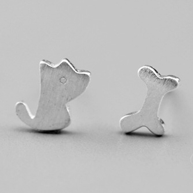 925 Sterling Silver Petite Puppy Dog Bone Kids Stud Earrings