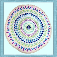 China Wholesale Mandala Round Microfibre Beach Towels With Tassels