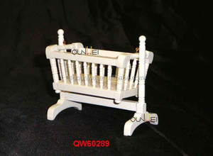 Miniature wooden rocking chair Crib Cradle Baby Infant 1:12 Miniature Dollhouse furniture QW60289