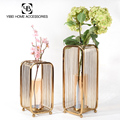 wholesale home decorative iron luxury glass flower vase