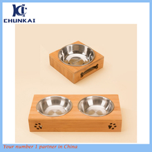 2 Raised Pet Bowls Bamboo Elevated Cat Dog Feeder