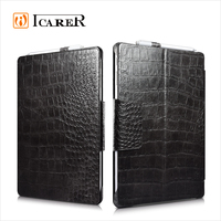 ICARER Genuine Leather Case for Microsoft Surface Pro 4 Flip Cover with Stand Function Crocodile Grain Series