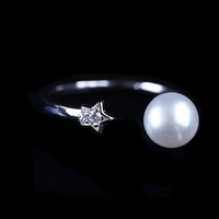 925 Silver Fashion Jewelry 6-7mm Button Pearl New Design Pearl Finger Ring