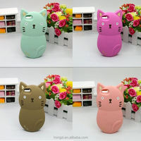 Korea 3D cartoon Forest animal cute cat soft silicone case For iphone 4 4s/5 5s 6 6s plus