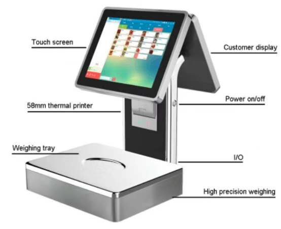 POS-S001 Windows OS 12inch all in one touch POS machine with scale with 58mm receipt printer