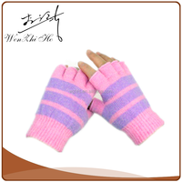 Pink Red Black Knit Fingerless Gloves for Writing