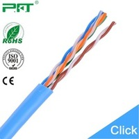 PFT factory lowest price yellow/blue/grey color cca/copper utp cat 5e cable ,network wiring 305m