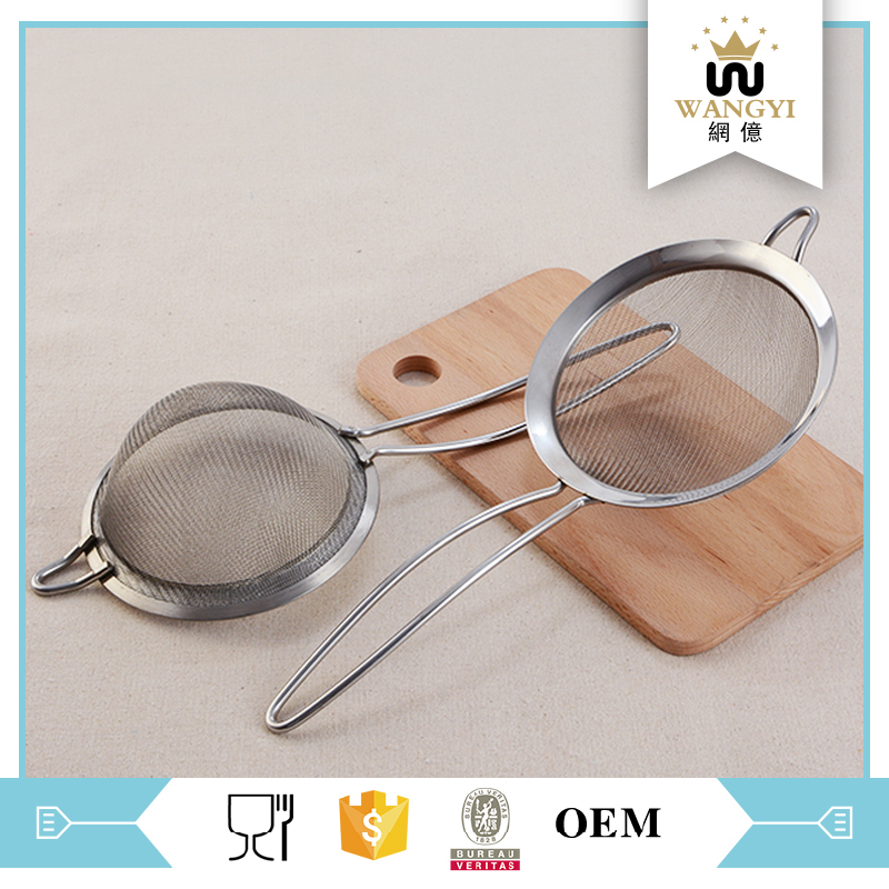 FDA certificated 16cm stainless steel wide side sieve kitchen with handle