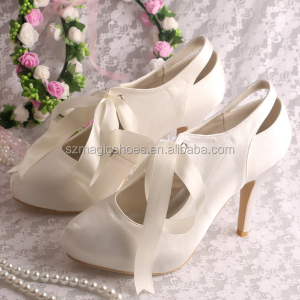 15 Colors)Closed Toe Lace up Heels Off-white Satin Wedding, View ...