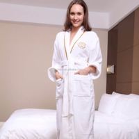 Women Fluffy Kimono Collar Hotel Knee Length Bathrobe Sets/Hotel Heavy Terry Cloth Bathrobe 100%