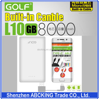 Golf L10 Built-in Cable 8000mAh Power Bank Portable External Powerbank
