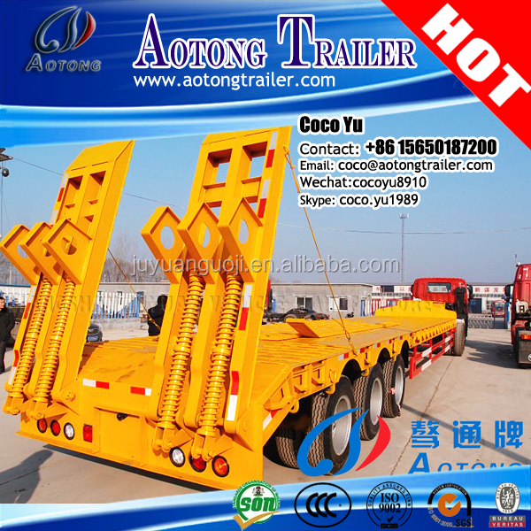 AOTONG hydraulic low bed semi trailer, excavator crane transportation low platform trailer truck