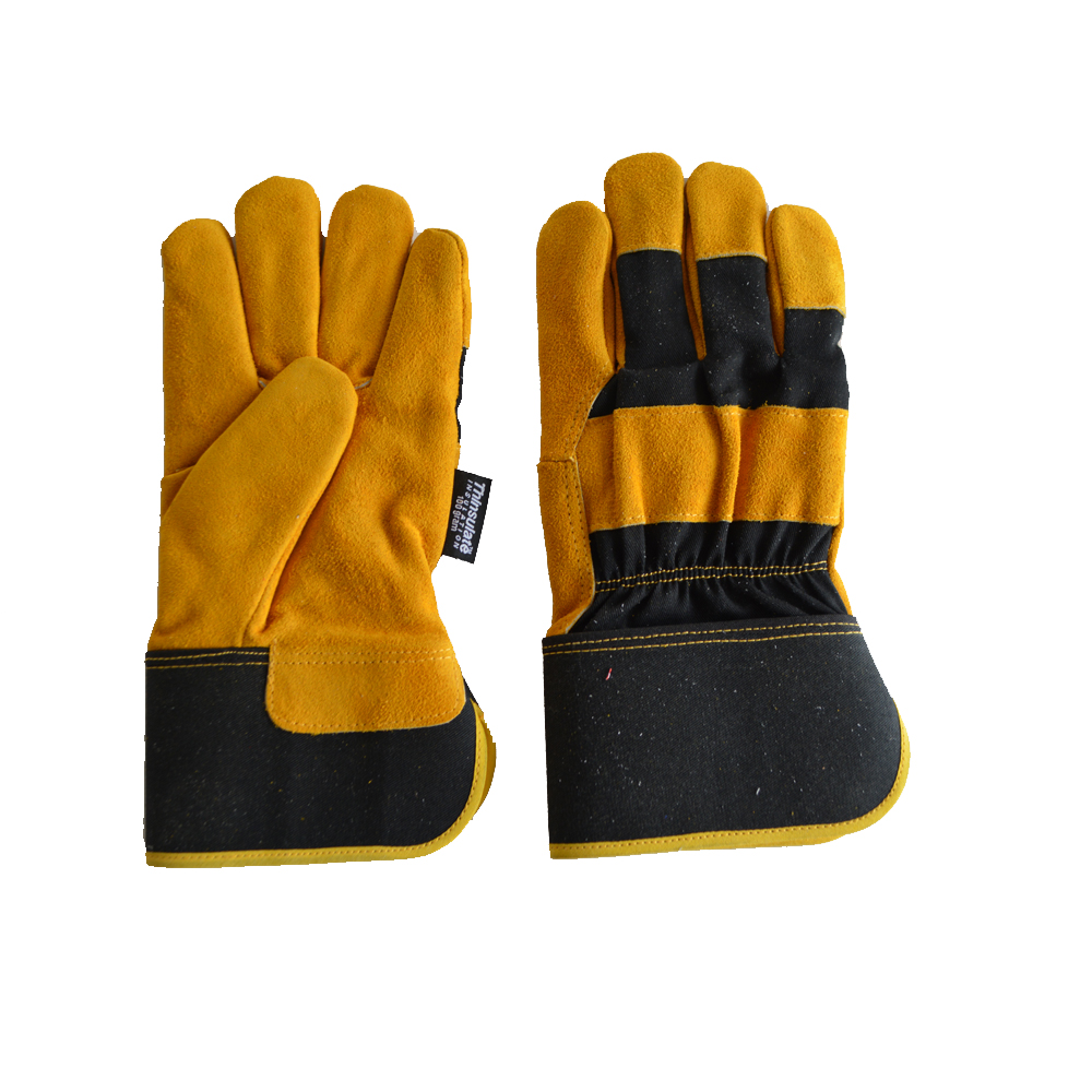 Hot sales Cheap Cow split leather Long finger Industrial work gloves for Men