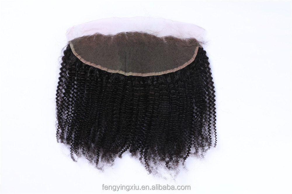 Alibaba Express Whole Virgin Hair Afro Curly 12inch Natural Color 13x4 Lace Frontal