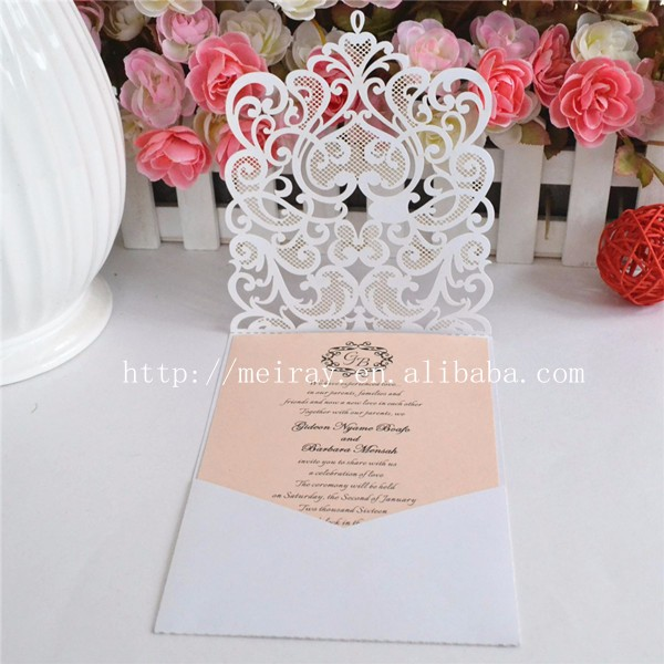 laser cut wedding invitation pocket greeting cards wedding invitation pockets laser cut pocket fold invitations peach