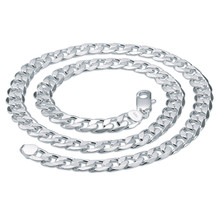 Hot sale fashion silver jewelry classical Men's Silver 12M flat curb link chain,triple layer silver plated link chain necklace
