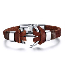 21CM Fashion Stainless Steel Anchor Bracelets & Bangles Genuine Leather Men Bracelets Trendy Jewelry Wholesale