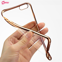 Gold Silver Pink 0.3MM Waterproof TPU Phone Case Transparent Electroplate TPU Mobile Case for samsung s7