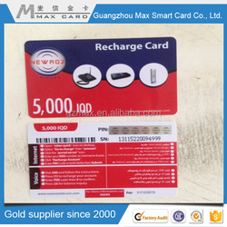 pvc phone calling rechargeable card for telecom