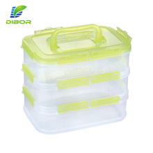 5 liters clear rectangular layered plastic lunch box 3 compartment food container with handle