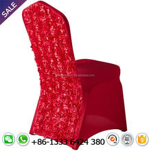 hot selling wholesale red white wedding rosette chair cover for banquet event