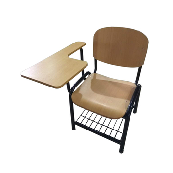Factory price folding training student chair with writing pad used school writing chairs  with grid shelf