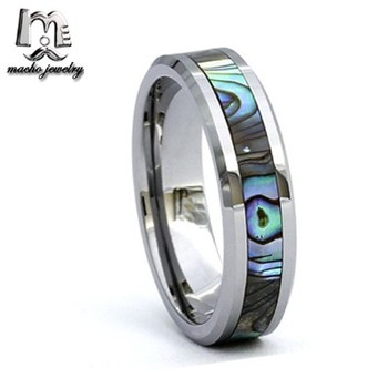 Flame Tungsten Ring Abalone Shell Inlay Unisex Wedding Ring For Men