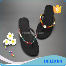 Fabric upper beads decorated women sandals casual slippers