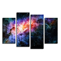 Galaxy Scenery Canvas Painting Universe Nebula Photography Printing on Canvas Modern Home Wall Decor 4-Panel