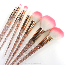 New designed beautiful color crystal handle cosmetic brush crystal makeup brush set