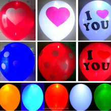 Top sale customized colorful led lights latex balloon flashing light up ballon for wedding parties