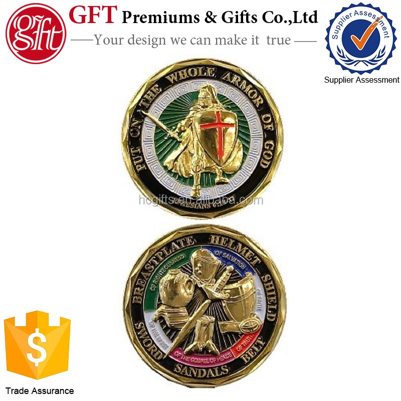 Custom design high quality Low Price Custom Put on the Whole Armor of God Challenge Coin