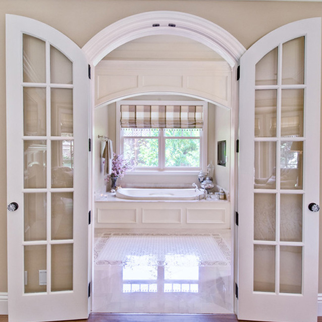 Excellent quality solid wood arched exterior door with glass