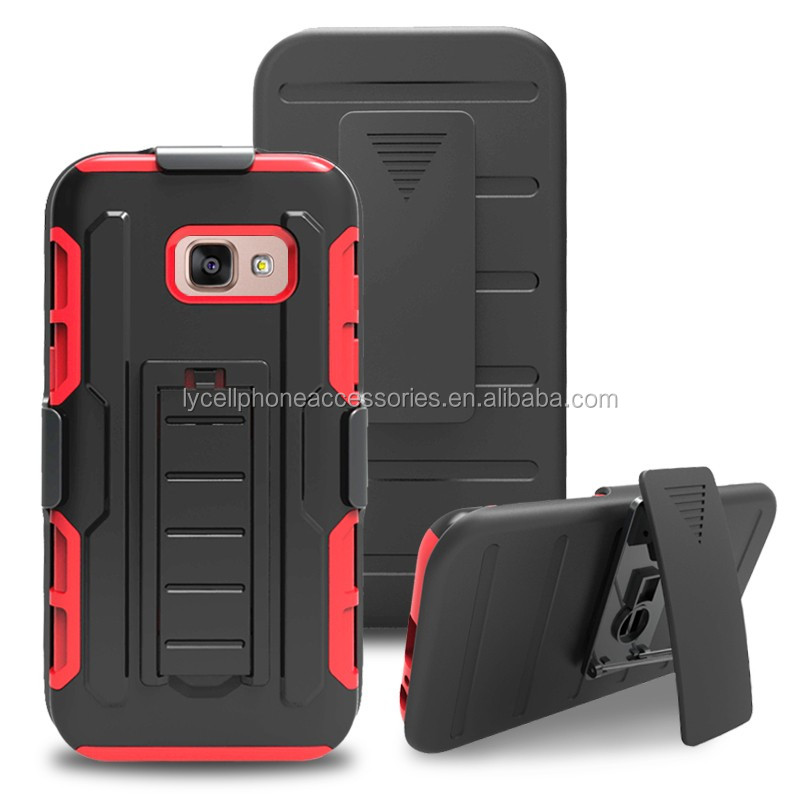 High Impact Hybrid Hard/Soft Protective Cover with Stand Holster Robot Combo Case For Samsung A3 2017