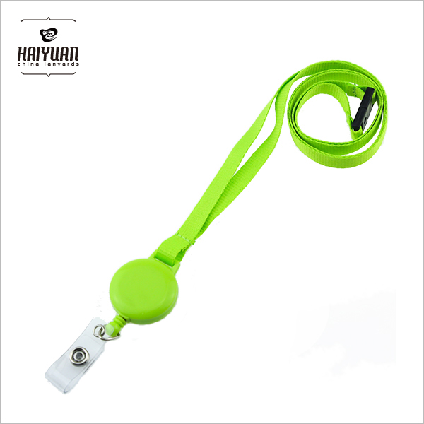 Green Plastic Retractable Badge Reel Lanyard with Eco friendly PVC and metal snap
