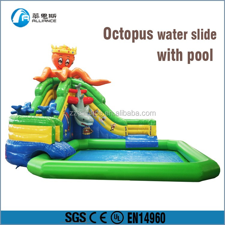 2016 hot swimming pool equipment octopus inflatable water slide cheap slide