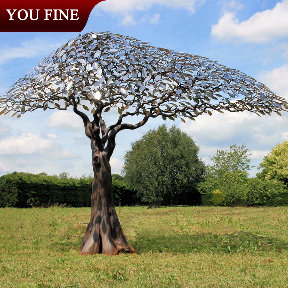 Metal Garden Monumental Stainless Steel Tree Sculpture