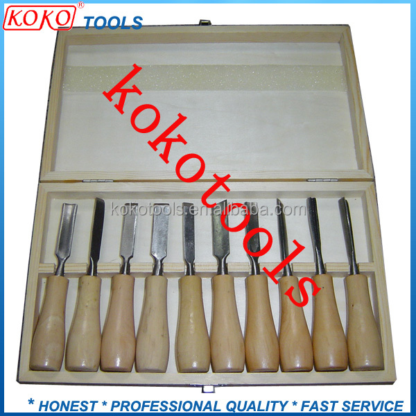 fine wooden handle professional polished wood carving chisels sets