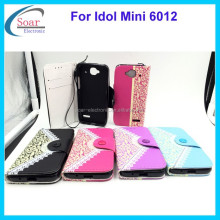 luxury flip cover case for Alcatel One Touch Idol Mini 6012,pouch case for Alcatel One Touch Idol Mini 6012
