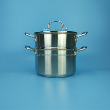 hot sale multipurpose three layers bottom stainless steel steamer pot soup pot with glass lid