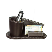 leather office desk business card holder pen holder,PU leather pen holder