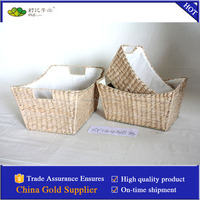 rush woven storage basket with liner and iron frame S/3