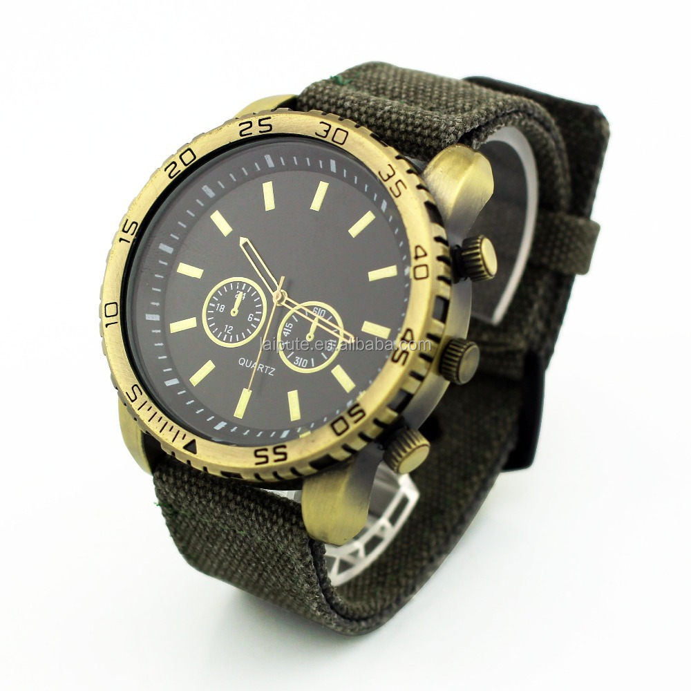 big dial 50mm fabric mens wristwatch japan movt quartz canvas watch shenzhen manufacturers