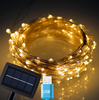 [USB and Solar Powered] Christmas 72 Ft 150 LED Copper Wire Fairy String Lights Outdoor Waterproof Starry Strip Lighting