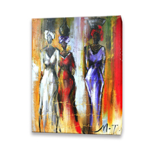 Handmade women photo image art canvas abstract african oil painting for home decoration