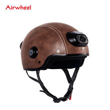 2017 New Model Brown Leather Half Face Smart Motorcycle Helmet with Camera